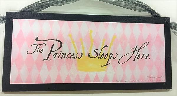 The Princess Sleeps Here Baby Girls Nursery Childrens Room Decor Wooden Wall Art Sign