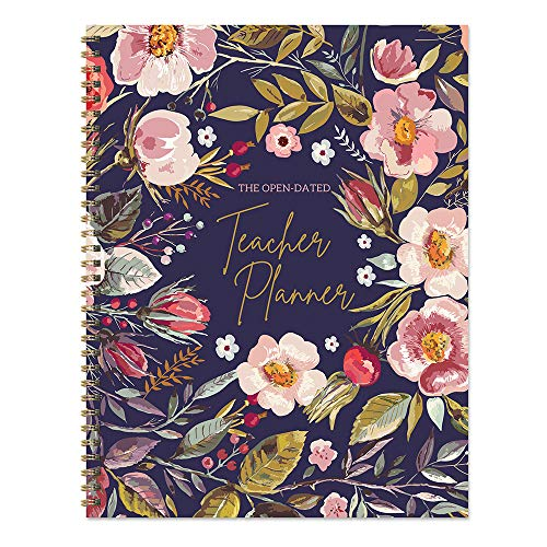 Large Navy Botanical Floral Undated 9 x 11 Weekly Teacher Planner Lesson Plan Book