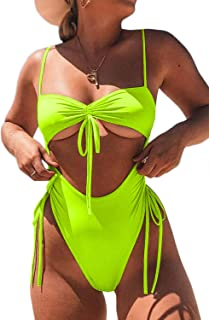ioiom Womens Sexy High Waist One Piece Swimsuit Tummy Control Swimwear