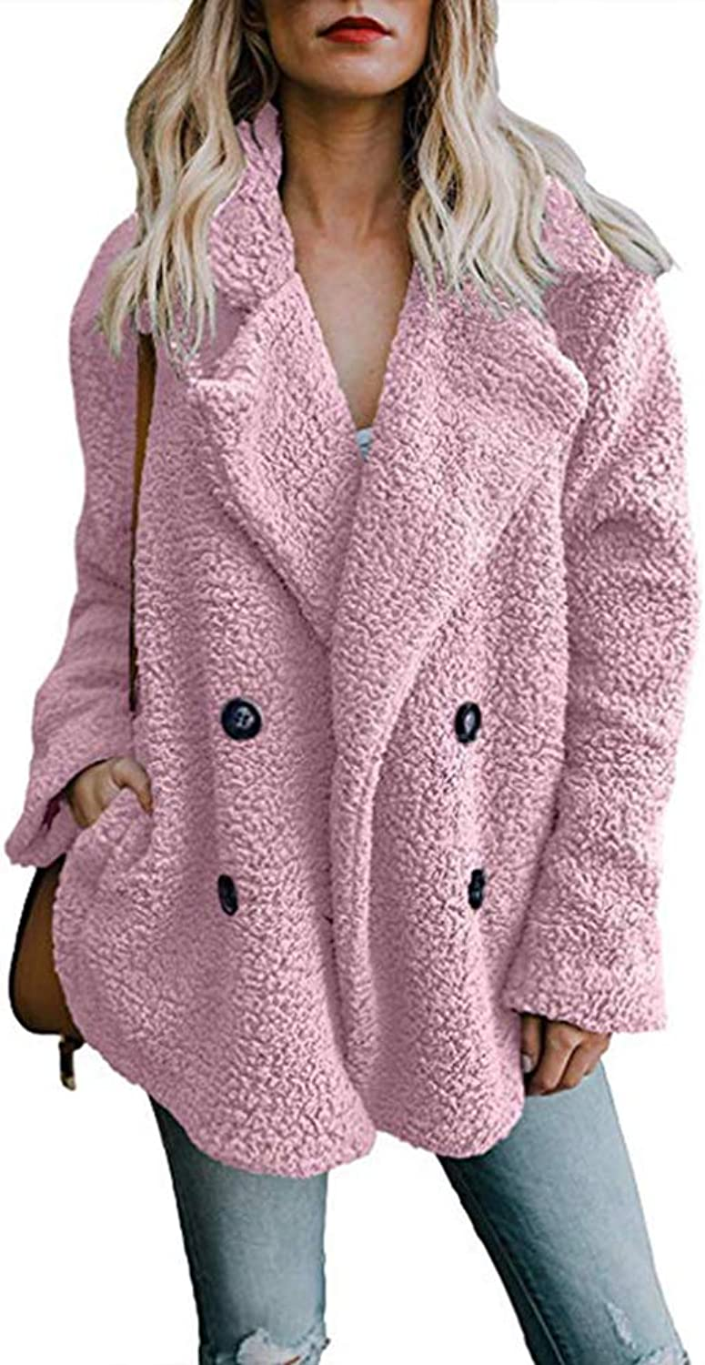 Blostirno Women's Faux Fur Outwear Open Front Lapel Fuzzy Fleece Coat