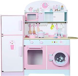 大きな木製子供用キッチン玩具セット、冷蔵庫、洗濯機および調理器具、鮮やかな色