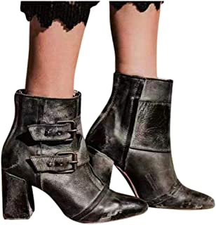 boots for women on sale clearance Women Pointed Toe Buckle Strap Thick Heel Casual Shoes Western Knight Booties