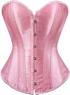 412d3b5b42b stay real Women s Bustier Corset Sexy Satin Brocade Overbust Waist Cincher  Shapewear Top