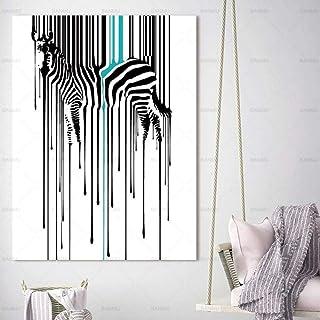 Impression Hd Poster Imprimé Sur Toile Abstraite Aquarelle,Animal Zèbre Créative Moderne Art Mural Grand Format Peinture P...