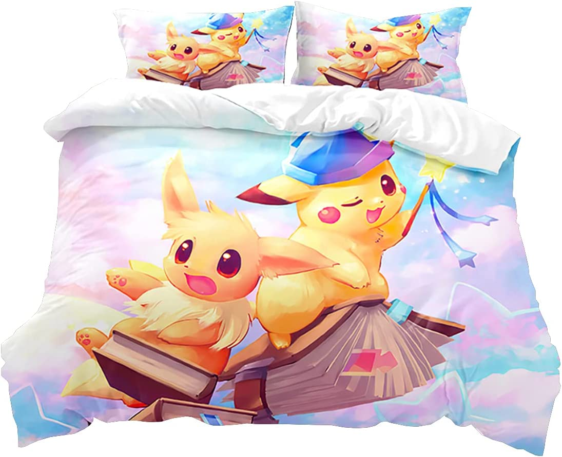 The Pikachu Anime Theme 3 Printed S Great interest Bedding 3D 67% OFF of fixed price Piece