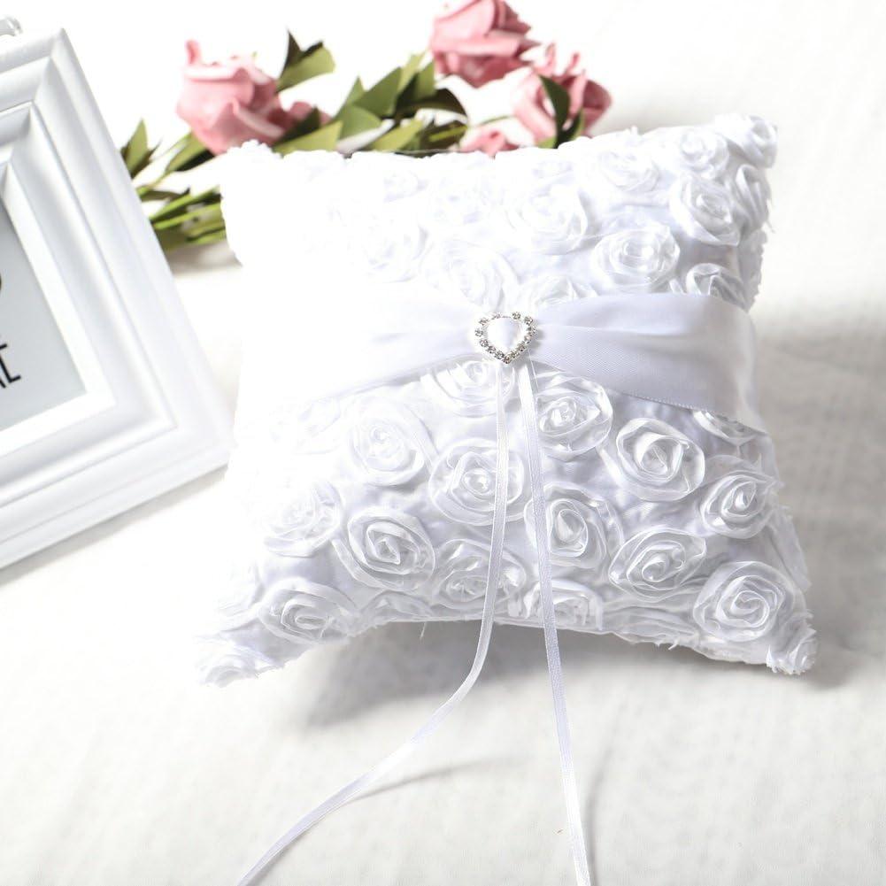 20 bpblgf Ringkissen f/ür Hochzeit Ringkissen mit Platz Rose Ringkissen/Hochzeit Braut White 20cm
