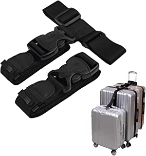 MAGARROW Add a Bag Luggage Strap Adjustble Suitcase Attachment Belt Connecting the Luggage Black