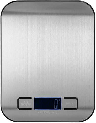 R Runilex Stainless Steel Digital Electronic Kitchen Scale Weighing Machine for Food Baking Cooking for Home Kitchen Weight Health and Fitness Use Silver 18 x 14 x 1 8 cm