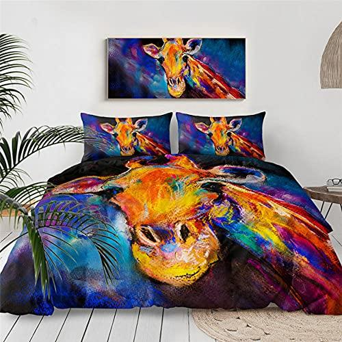 HXFJL Literie de Lit Trois pièces Ensemble de literie drôle Girafe animaux housse de couette Avec taies d'oreiller ARC-en-Ciel lunettes de Soleil literie 220X240CM