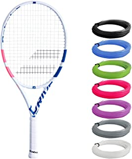 Babolat Pure Drive Junior 25 Inch White/Pink/Blue Tennis Racquet Strung with Custom Racket String Colors