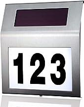 MOLVCE RVS huisnummer solar Verlicht 2 leds solar huisnummer met schemerschakelaar IP65 waterdicht buiten met cijfers 0-9...