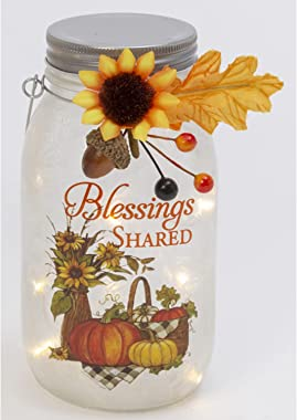 One Holiday Way 7-Inch Lighted Frosted Glass Blessings Shared Mason Jar Lantern with Harvest Accents - Rustic Hanging or Tabl