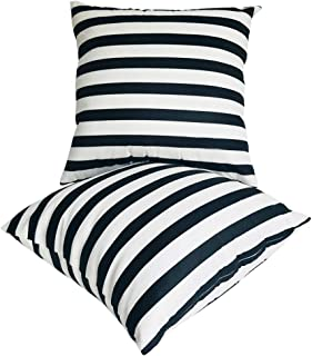 U-LOVE 2Pack Black&White Striped Pillow Covers Morden Simple Life Throw Pillowcases Home Decorative Cushion Covers 18×18 i...