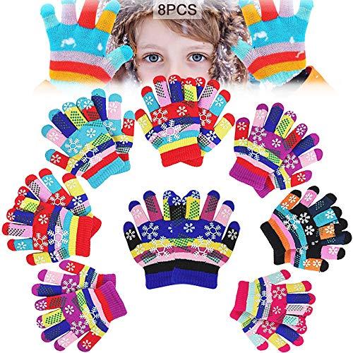 MEISHANG 8 Paare Kinder Winterhandschuhe Fäustlinge,Kinderhandschuhe Winter,Winter Warme Strickhandschuhe,Kinder Warme Handschuhe,Stretch Vollfinger Handschuhe,Handschuhe Kinder