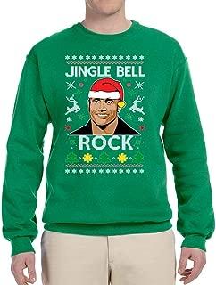 Jingle Bell Rock The Rock Santa Xmas Funny | Mens Ugly Christmas Sweater Crewneck Sweatshirt