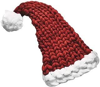 Christmas Hat Warm Chunky Knit Beanie Handmade Long Tail Knit Santa Hat