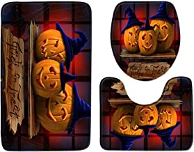 HOLD HIGH Happy Halloween Bath Mats, 3PC Non Slip Washable Bathroom Carpets Bedroom Door Floor Rugs Doormats with Bats Scary Pumpkin Haunted House Witch, Pedestal Rug + Lid Toilet Cover + Bath Mat Set