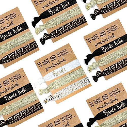 6 Pack of Bachelorette Party Favors | 5 Bride Tribe Hair Ties and 1 Bride to Be Hair Tie | Bachelorette Hair Ties | Bride Tribe Favors | Bachelorette Party Hair Ties | Pop Fizz Designs