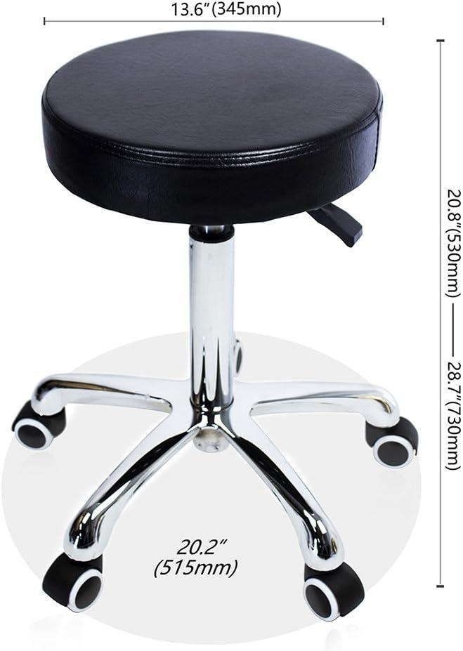 Grace /& Grace Adjustable Massage Stool Chair on Wheels for Shop Beauty Salon Home Office,Heavy Duty Rolling Swivel Stool Beige