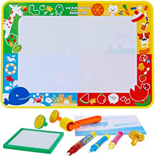 Anpro 70×100 cm Doodle Mat, Magic Water Drawing Mat with 3 Pens, 3 Stamps, and 1 Drawing Book Painting Pad Perfect Educati...