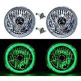 OCTANE LIGHTING 7' Halogen H4 12V Headlight Headlamp Green Led Halo Angel Eyes Light Bulbs Pair