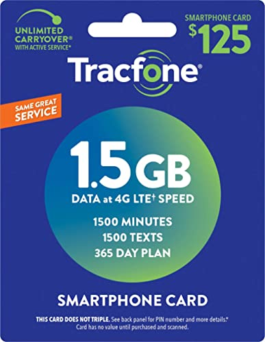 TracFone (Smartphone Only) Airtime Prepaid Service Card - Mail Delivery - 1.5GB Data / 1500 Minutes / 1500 Texts (150...