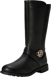 حذاء برقبة للفتيات - حذاء ركوب لمنتصف الساق (للأطفال الصغار/الأطفال الكبار)، مقاس 1، أسود