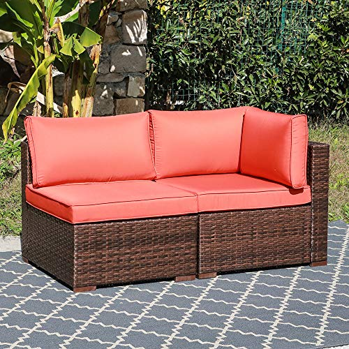 OC Orange-Casual 2 Piece Patio Sectional Furniture Set Outdoor Armchair & Middle Sofa with Brown Wicker & Orange Cushion for Backyard, Poolside, Garden