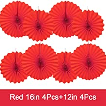 GAKA Party Hanging Paper Fans Set,16in and 12in Red Round Paper Ceiling Party Decoration Suppiles,Set of 8
