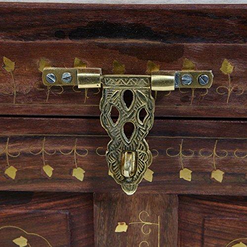 Orientalische Echtholz Truhe Gita L 45x26x30 (BxTxH) handgeschnitzt mit Messing verziert im Antik-Look | Kunsthandwerk pur | Marokkanische Vintage Schmucktruhe aus Sheeshamholz mit Spiegel | S8603 - 4