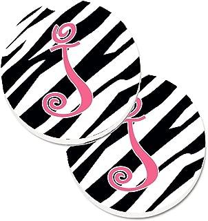 Caroline's Treasures Monogram Initial J Zebra Stripe & Pink Set of 2 Cup Holder Car Coasters CJ1037-JCARC, 2.56, Multicolor