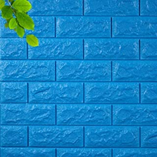 LZYMLG Waterproof Foam Brick 3D Wall Panel DIY Self Adhesive Wallpaper for Kids Room Bedroom Wall Decor 3D Brick Living Room Wall Pape Blue 70cmX77cm