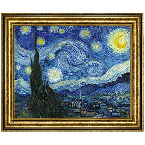 UpperPin The Starry Night by Vincent Van Gogh, Oil Painting Print on Museum Quality Canvas, with Victorian Gold Frame, Size 30' x 25', Framed Painting Ready to Hang on Your Wall.
