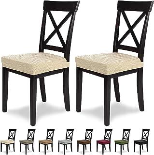 comprar comparacion SCHEFFLER-Home Luna 2 Fundas para Asiento de sillas, Estirable Cubiertas, Chenilla Funda con Banda elástica, Crema