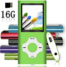 $20 » Tomameri - Portable MP3 / MP4 Player with Rhombic Button, Including a 16 GB Micro SD Card and Support Up to 64GB, Compact Music, Video Player, Photo Viewer Supported - White-with-Green