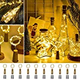 Ooklee Wine Bottle Lights,10 Pack with 30 Spare Battery Operated,2m 20 LED Copper Wire Fairy String Cork Light for DIY Indoor Outdoor Table Parties Wedding Christmas Bedroom Decoration(Warm White)