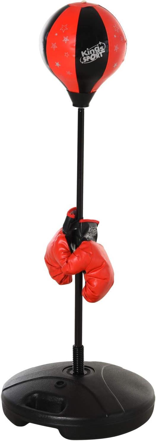HOMCOM Saco de Boxeo para Niños Altura Ajustable con Guantes Soporte Estable Resorte de 360 Grados 38x38x78-120cm Negro y Rojo