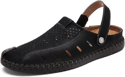 YoiGn Sandalen Sommer Herren rutschfeste Dual-Use-Strandschuhe Hohl atmungsaktive Schwarz Schuhe Waten Strand Sandalen Im Sommer frisch und atmungsaktiv (Farbe   Schwarz Größe   42 2 3 EU)