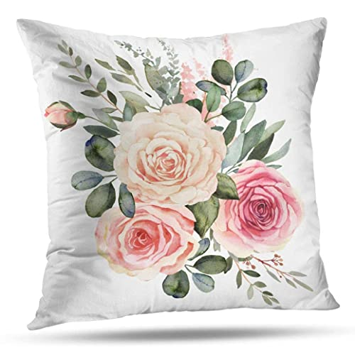x 20 in Designart CU13622-12-20 Frangipani Flowers Watercolor Floral Lumbar Cushion Cover for Living Room in Sofa Throw Pillow 12 in