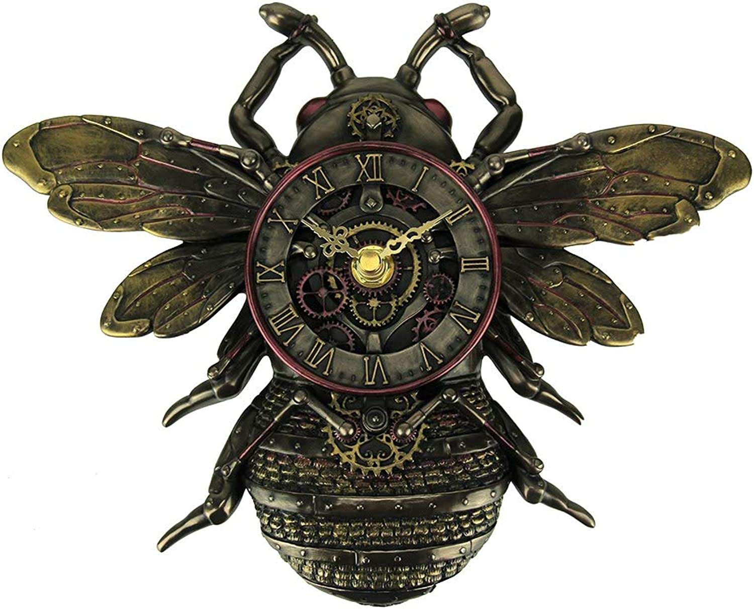 Veronese Design Resin Wall Clocks Steampunk Style Bronze Finish Honeybee Wall Clock 9.75 X 7.25 X 1.38 Inches Bronze