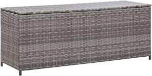 "Unfade Memory Patio Deck Storage Box PE Rattan Waterproof Storage Container for Cushions, Pillows, Pool Furniture Gray (47.2""x19.7""x23.6"")"