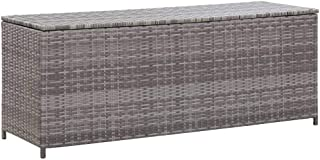 vidaXL Boîte de Rangement de Jardin Coffre de Rangement Banc de Stockage Patio Terrasse Extérieur Gris 120x50x60 cm Résine...