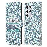 Head Case Designs Accesorios Navidad Bendita Carcasa de Cuero Tipo Libro Compatible con Samsung Galaxy S21 Ultra 5G