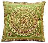 Ruwado Grün Seide Kissenbezug | Zierkissenbezug | Sofakissenbezug | Dekokissen | Zierkissen - 40 cm x 40 cm ***Handgewebt und Handgefertigt von Kunsthandwerkern aus Kaschmir-Indien***