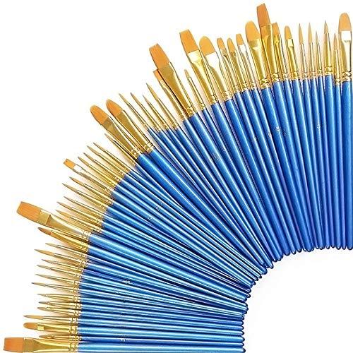 50 Stück Künstlerpinsel, Premium Nylon Kunst Pinsel-Sets für Aquarell, Acryl & Ölgemälde Perfekt für Anfänger, Künstler und Gemälde Liebhaber (50er Blau)