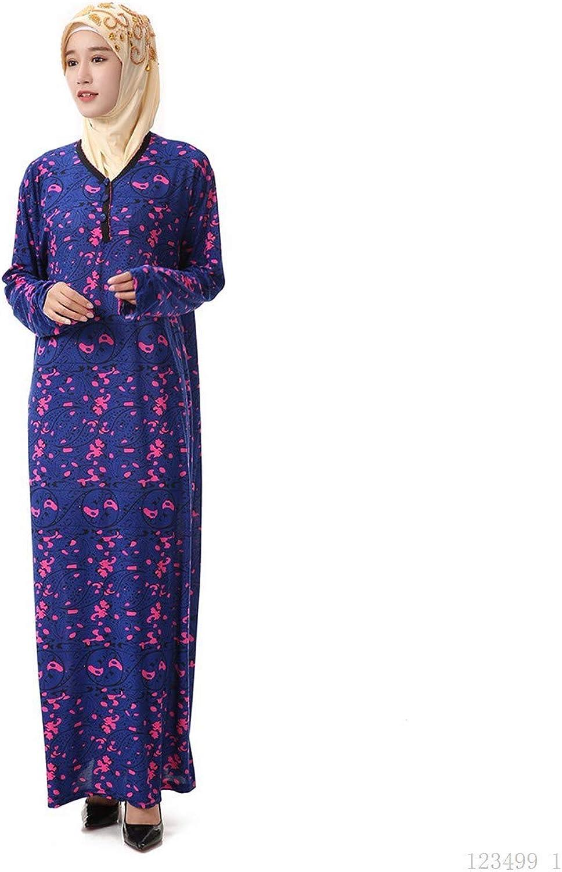 BaronHong Women's Muslim Islamic Robe Abaya Maxi Dress V Neck Floral Printed
