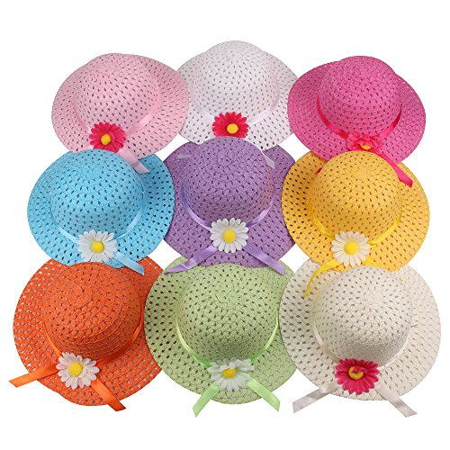 Girls Sunflower Straw Tea Party Hat Set (9 Pcs, Assorted Colors)