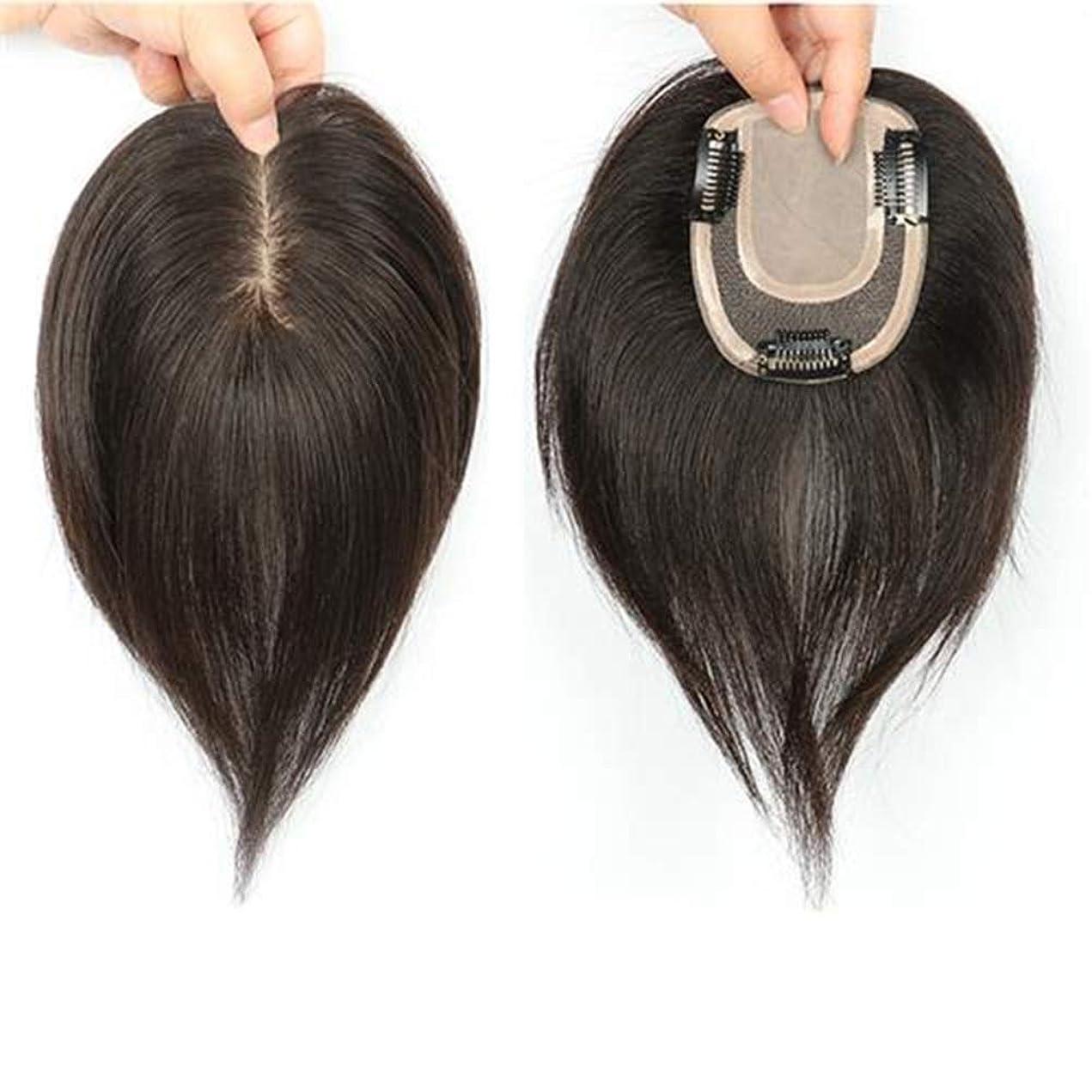 高尚なしなければならない宝Yrattary 自然なロングストレートヘアフルハンドウィッグリアルヘアウィッグ女性のための人工毛レースのかつらロールプレイングウィッグロングとショートの女性自然 (色 : Natural color, サイズ : 25cm)