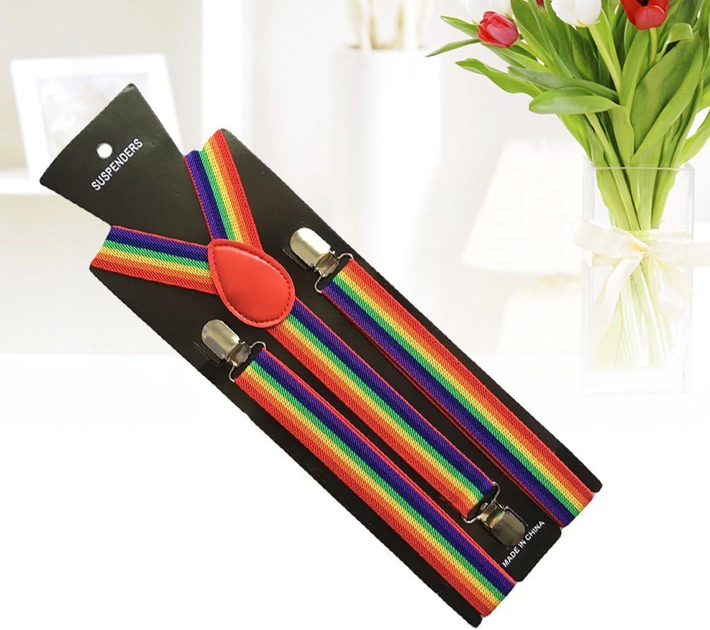 MUSEYA Rainbow Suspenders Y Back Suspenders with 3 Clips for Men Women 85cm