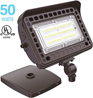 HYPERLITE 50W LED Flood Light 6,000LM (200W HID Equivalent) 5000K Daylight with 180° Adjustable Knuckle Mount,with Base for Wall Mount IP65 Waterproof for Garden Yard Doorways Garage UL Listed